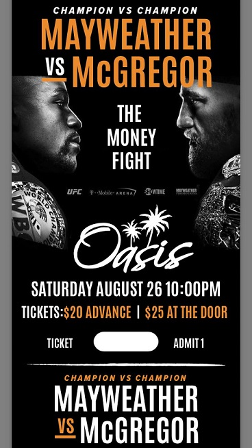 Mayweather vs McGregor Aug 26